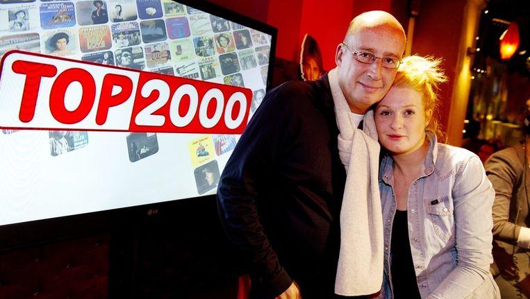Diskjockey Daniel Dekker en zangeres Miss Montreal tijdens de laatste stemdag voor de Top 2000 in het Instituut voor Beeld en Geluid op het Mediapark in Hilversum. Beeld anp