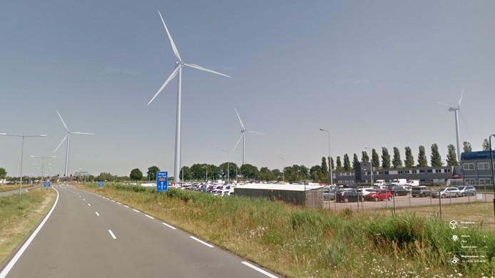 Een visualisatie van het toekomstige windpark Elzenburg-De Geer op de rand van Oss en Berghem.