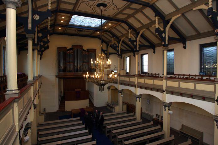 De binnenkant van de synagoge. Als het aan ondernemers Ayhan Sahin ligt, komt de foodhall in het rijksmonument er alsnog.