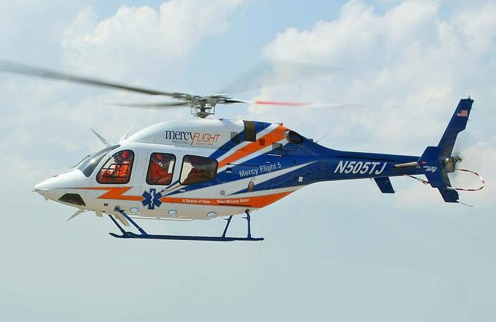 Een Bell 429 Global Ranger, het type helikopter dat werd gebruikt voor het transport van Schumacher.