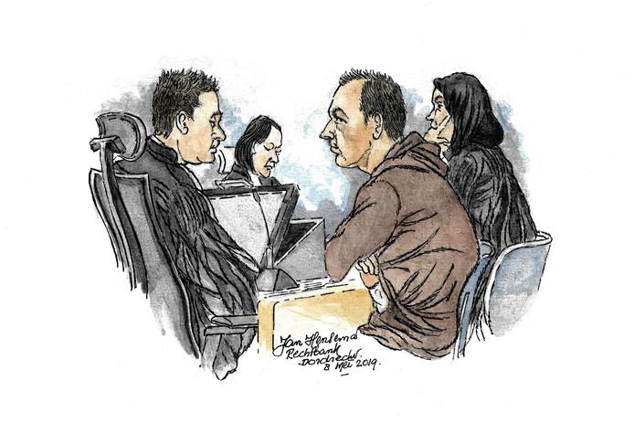 Rechtbanktekening van Jeffrey D. en zijn advocate.