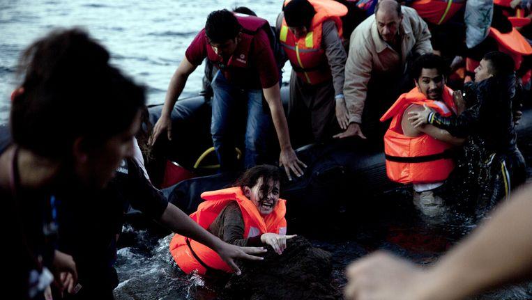 Syrische vluchtelingen komen aan op Lesbos. Beeld ap