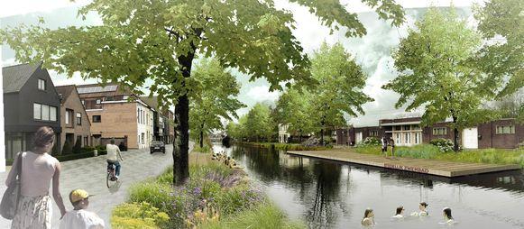Het stukje kanaal aan het stedelijk openluchtbad kan een open zwemvijver worden.