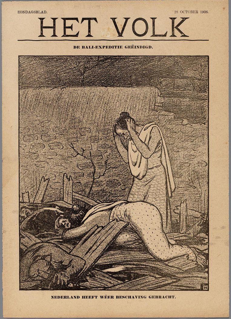 Tekening over de Bali-expeditie door Albert Hahn uit 1906. Collectie Internationaal Instituut voor Sociale Geschiedenis Beeld