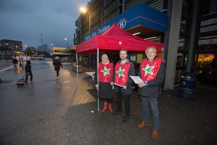 Actie van PVDA Sint-Truiden tegen betaalparkings aan het station