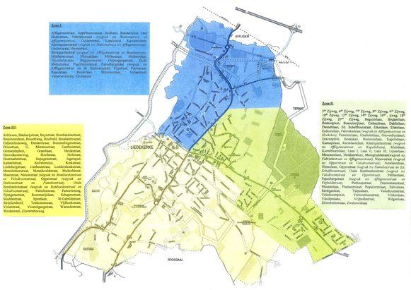 De indeling van de drie buurtinformatienetwerken.