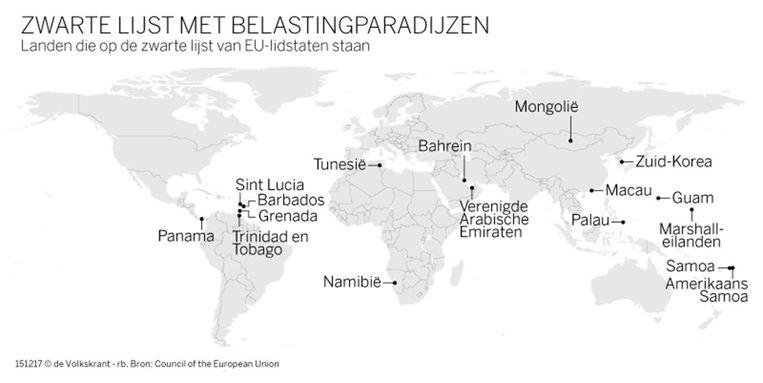 Eerste Europese zwarte lijst van fiscale paradijzen Beeld