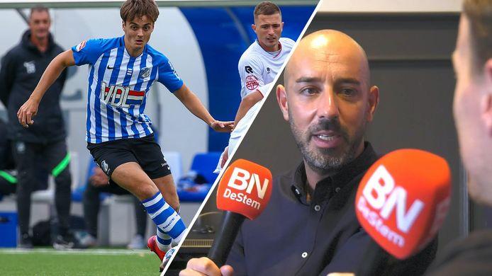FC Eindhoven-speler Kaj de Rooij (links) en NAC-clubwatchers Yadran Blanco en Joost Blaauwhof.