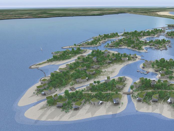 Een artist impression van het plan voor Brouwerseiland stockpzc stockwegener eiland Zeeland provincie