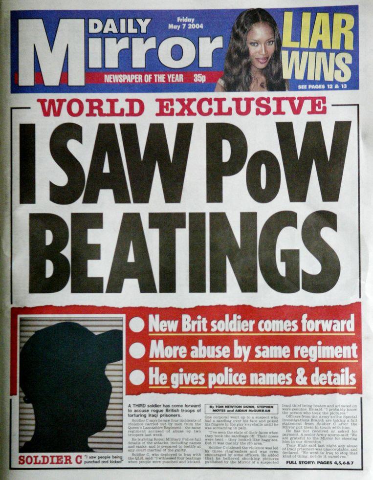 Voorpagina Daily Mirror uit 2004. Beeld AFP