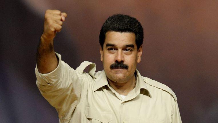 Nicolas Maduro tijdens een politieke manifestatie in Caracas afgelopen week. Beeld afp