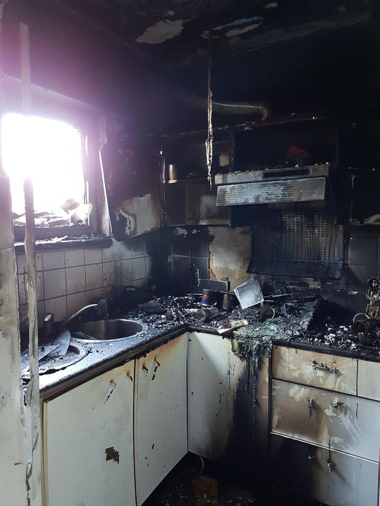 De keuken is volledig verloren.