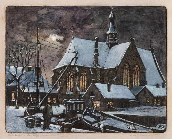 Een reproductie van de ets van de Oude Haven in Waalwijk van Wim Suermondt. Het wintergezicht uit 1954 is een van de werken die is te zien op de expositie in De Leest.