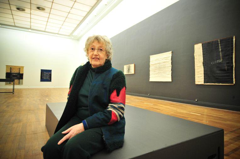 Edith Van Driessche bij de opening van de overzichtstentoonstelling in Cultuurcentrum Mechelen in 2008