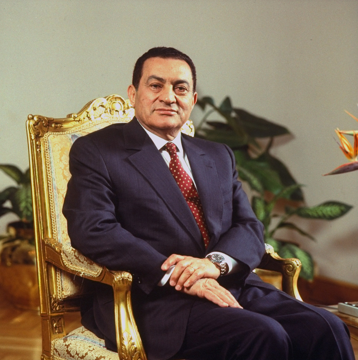 President Mubarak in 1993, toen hij nog nog stevig in het zadel zat. Beeld Getty