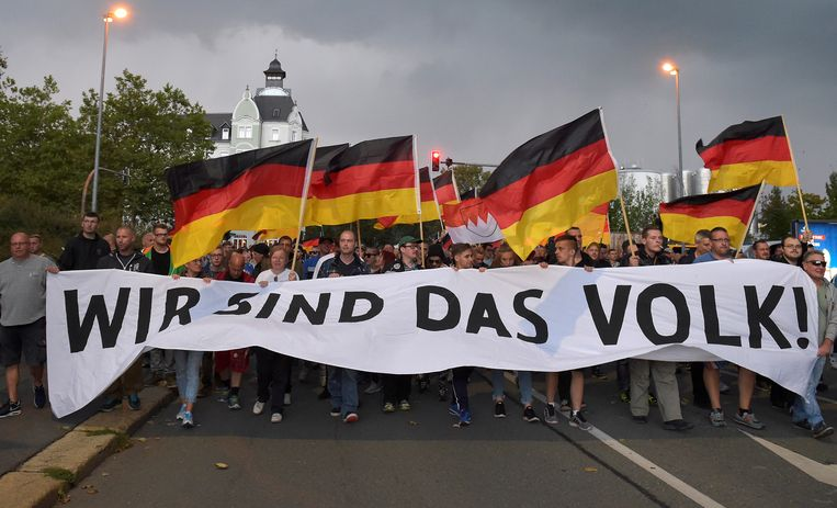 Een 'Pro Chemnitz' demonstratie in de straten van Chemnitz.