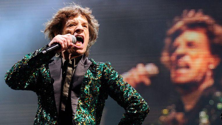 Mick Jagger op Glastonbury 2013.