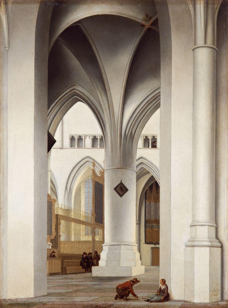 Pieter Saenredam, Het koor van de St. Bavo in Haarlem (1636). Beeld Fondation Custodia