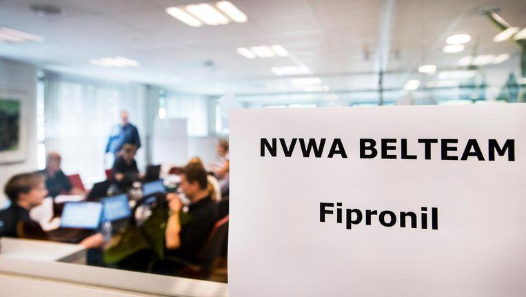 NVWA-belteam Fipronil bij de Nederlandse Voedsel- en Warenautoriteit (NVWA) in Utrecht. Beeld anp