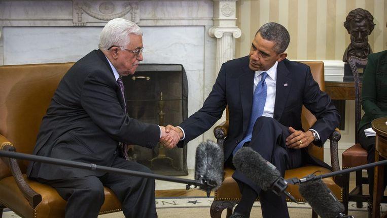 De Palestijnse president Abbas ontmoet de Amerikaanse president Obama in Washington. Beeld epa