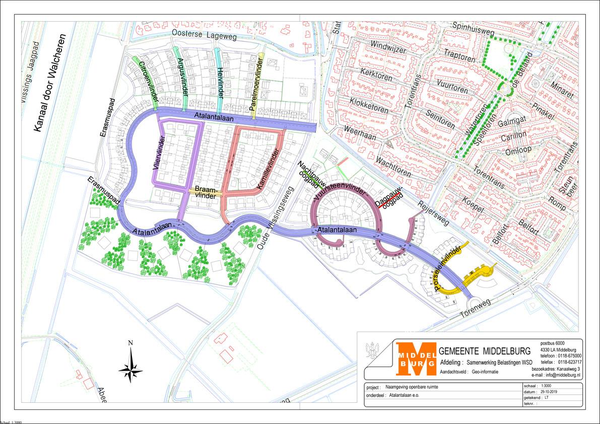 Situatieschets van de nieuwbouwwijk Essenvelt in Middelburg.