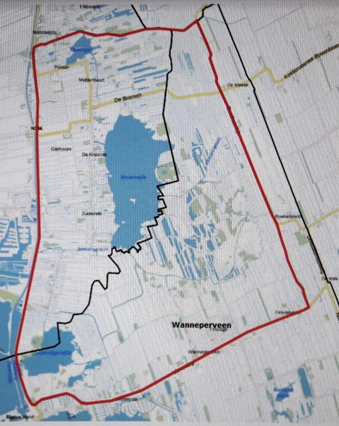 Binnen het rode gebied geldt het vaarverbod. De begrenzing bestaat uit de Beulakerweg (links), Veneweg (onder), Gasthuisdijk (rechts) en Noorder Stouwe (boven).