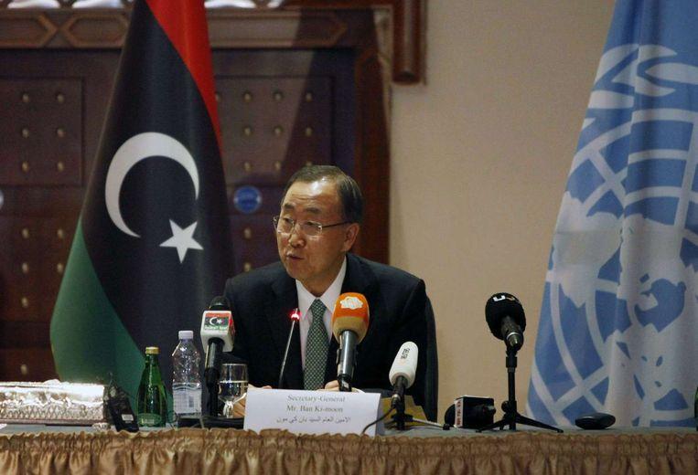 Secretaris-generaal van de VN Ban Ki-moon spreekt in Tripoli. Beeld anp