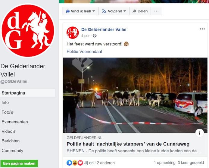 Screenshot van de Facebook-pagina van de Gelderlander Vallei.