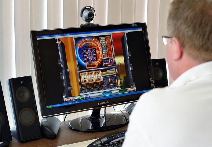 Website van een online casino waar mensen kunnen gokken via het internet.