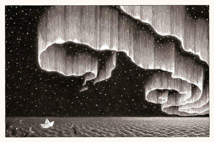 In het woordloze 'Zwerveling' vaart een papieren bootje de wereldzeeën rond.