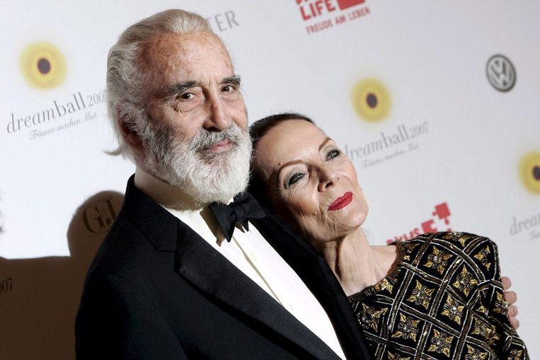 Christopher Lee en zijn vrouw Birgit in 2007.