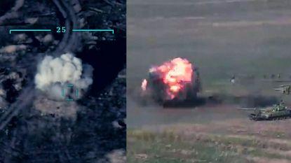Schokkende beelden van Armeense tanks die ontploffen tijdens aanval Azeri's