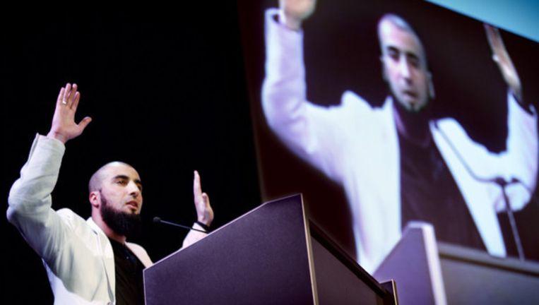 Een van de sprekers was prediker Ali Al Khattab, bij zijn aanhangers bekend als broeder Al Khattab. Foto Jean-Pierre Jans Beeld