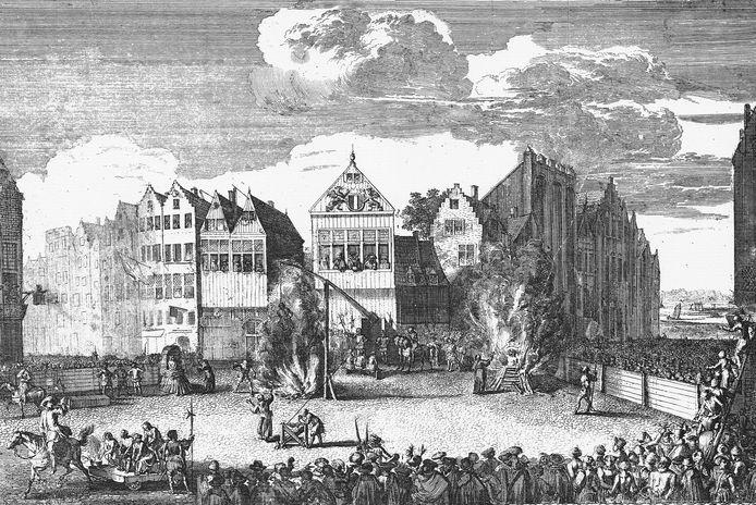 Een fantasie gravure uit ca. 1675, dus zo'n 150 jaar na de werkelijk terechtstelling. Op de prent staat als een stripverhaal de terechtstelling afgebeeld.