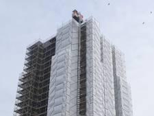 Dikke Toren in Zierikzee verstopt zich achter wit doek