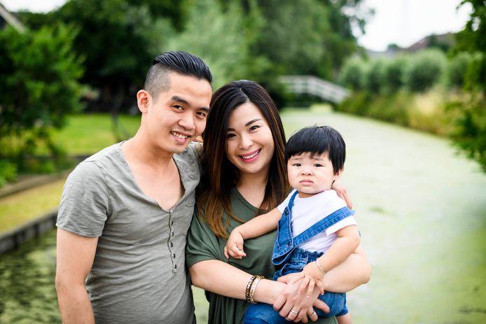 Kevin, Helena en zoontje Kenzo.