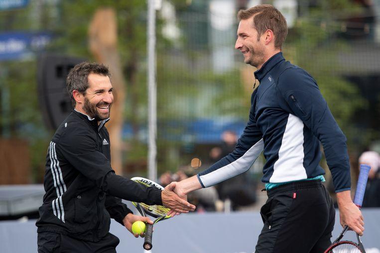 Florian Mayer (rechts) met Formule 1-coureur Timo Glock (links)