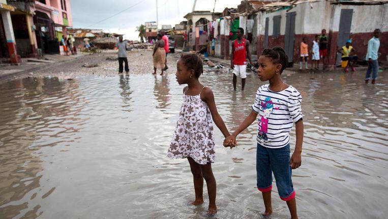 de schade van Matthew in Les Cayes, Haïti Beeld ap