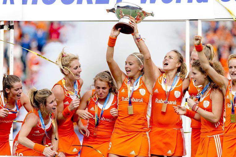 De hockeyvrouwen werden dit jaar wereldkampioen in eigen land. Beeld anp