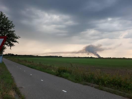 De brand op landgoed Haarendael is in Boxtel goed te zien.