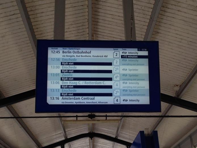 Het treinverkeer van en naar Almelo is gestremd
