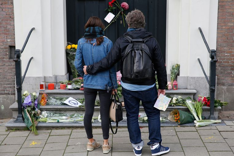 Herdenking in Amsterdam van de slachtoffers van de aanslagen. Beeld ANP