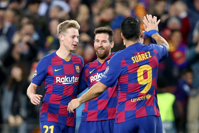 Frenkie de Jong, Lionel Messi en Luis Suarez