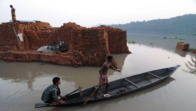 Overstromingen in de Assamregio in India Beeld EPA