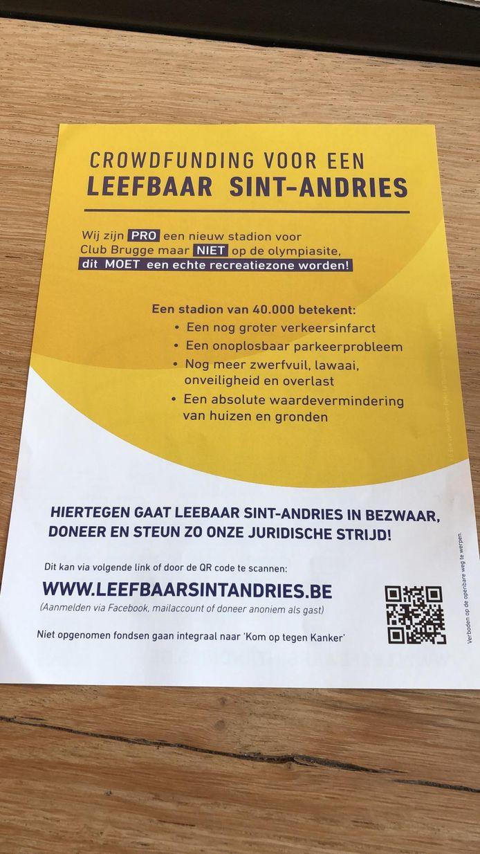 De bewuste flyer van Leefbaar Sint-Andries.