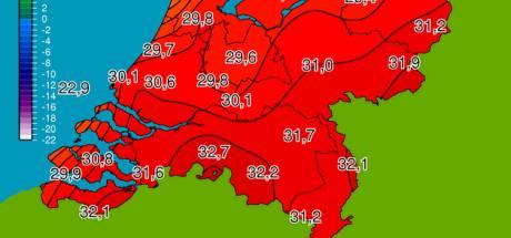 In Brabant temperatuur ver boven de 30: Eindhoven en Gilze-Rijen zelfs boven 32 graden