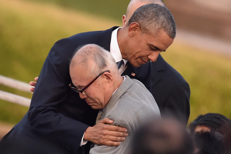 Obama Als Eerste Amerikaanse President In Hiroshima Foto