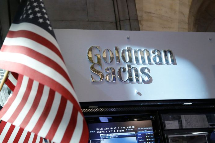 Goldman Sachs-stand op de handelsbeurs van New York.