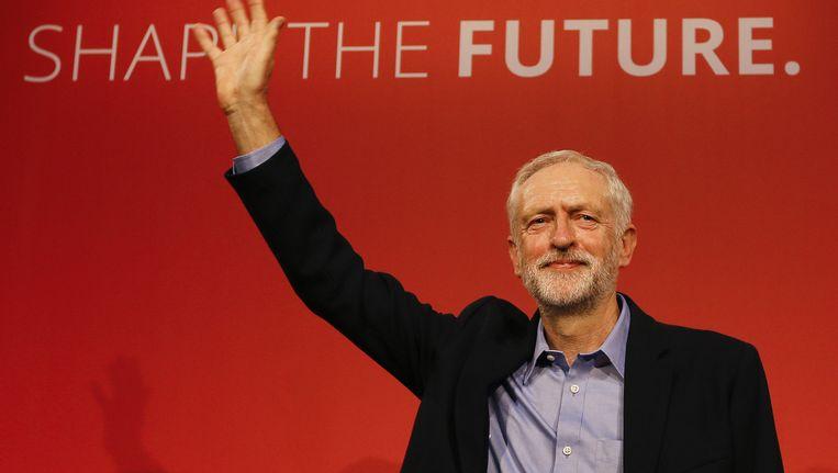 Jeremy Corbyn kort nadat bekend is geworden dat hij de nieuwe Labourleider zal worden. Beeld null