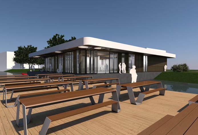 Schets van het horecapaviljoen dat volgend jaar zijn deuren wil openen in Schuytgraaf in Arnhem-Zuid.